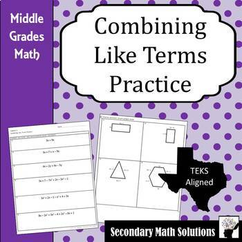 Combining Like Terms Practice