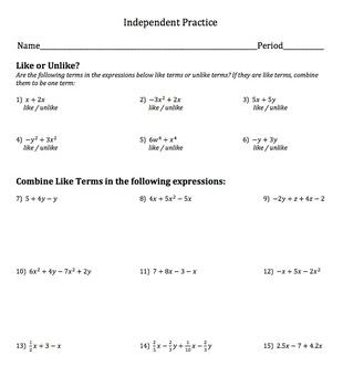Combining Like Terms - Practice, HW or Quiz