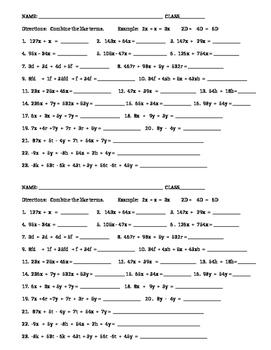 Combining Like Terms Practice/Quiz/Homework/Worksheet