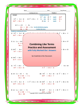 Combining Like Terms Practice and Assessment with Fully Worked Out Answers