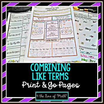 Combining Like Terms Print and Go