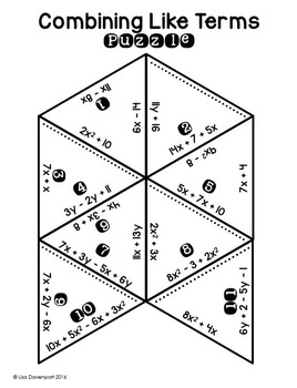 Combining Like Terms (Puzzle)