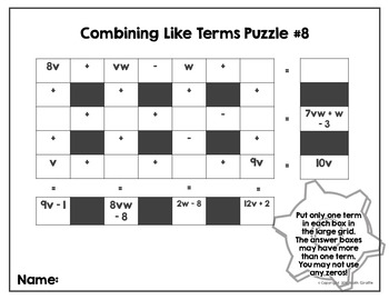 Middle School Math Madness!: Combining Like Terms Puzzles