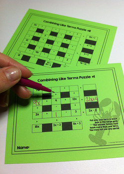 Combining Like Terms Puzzles