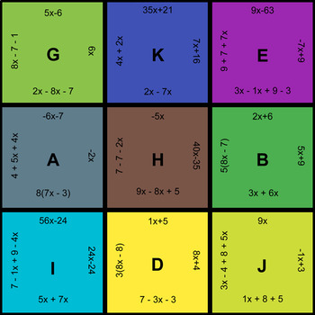 Combining Like Terms - Puzzles with GOOGLE Slides
