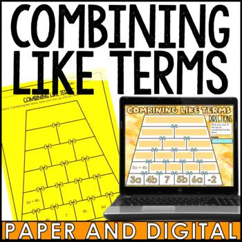 Combining Like Terms Pyramid
