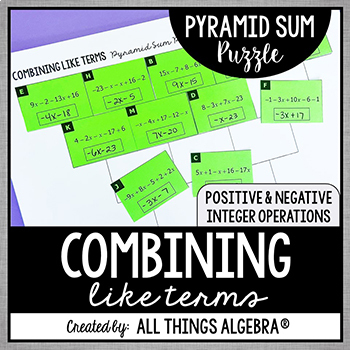 Combining Like Terms Pyramid Sum Puzzle By All Things Algebra Tpt