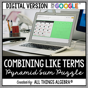 Combining Like Terms Pyramid Sum Puzzle Digital Version For