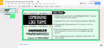 Combining Like Terms Pyramid Sum Puzzle Digital Version For Google