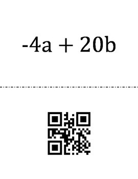 Combining Like Terms QR Loop Puzzle
