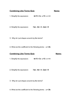 Combining Like Terms Quiz