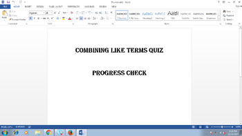 Combining Like Terms Quiz - Progress Check
