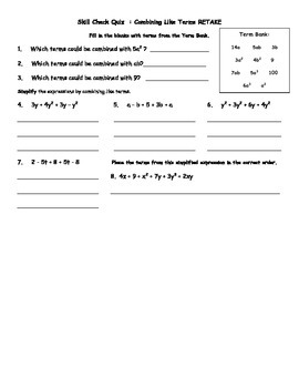 Combining Like Terms Quiz and Retake with Answer Key