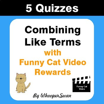 Combining Like Terms Quizzes with Funny Cat Video Rewards