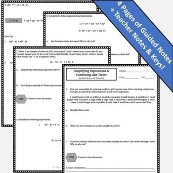 Combining Like Terms & Simplifying Expressions Guided Notes and Practice