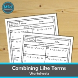 Combining Like Terms Simplifying Expressions Quiz Workshee