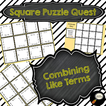 Combining Like Terms (Simplifying Expressions) Square Puzz