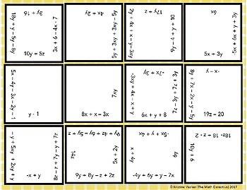 Combining Like Terms (Simplifying Expressions) Square Puzzle Quest