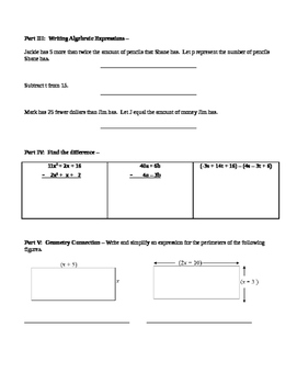 Combining Like Terms Simplifying Expressions Study Guide