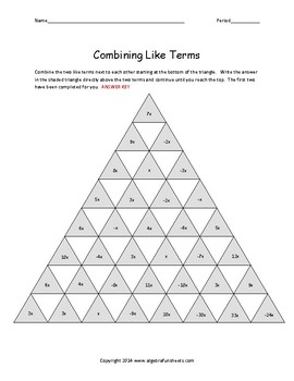 Combining Like Terms:  Single Variable Race to the Top Pyramid