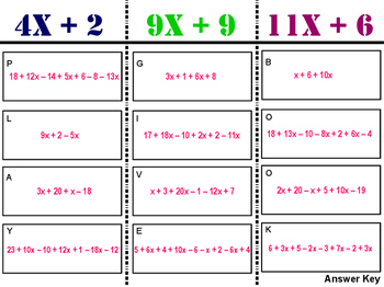 Combining Like Terms Sort