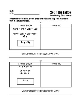 Combining Like Terms - Spot the Error!