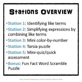 Combining Like Terms Stations