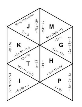 Combining Like Terms Tarsia Puzzle