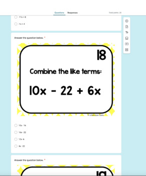 Combining Like Terms with BOOM Cards - Positive and Negative Terms