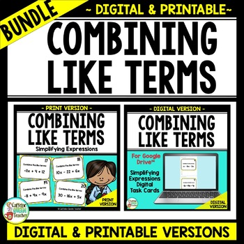 Combining Like Terms - Simplifying Expressions - Positive and Negative Terms