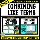 Combining Like Terms - Simplifying Expressions - EDITABLE