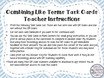 Combining Like Terms Task Cards with QR Codes
