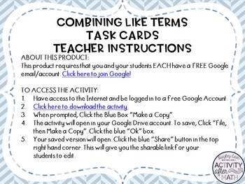 Combining Like Terms Task Cards with QR Codes GOOGLE Slide Version