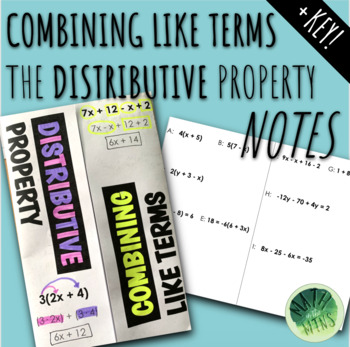 Combining Like Terms & The Distributive Property Foldable Notes