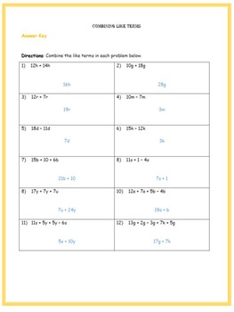 Combining Like Terms (Three Worksheets w/ Answer Keys)