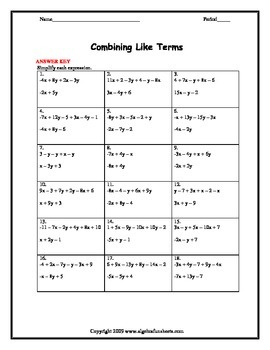 Combining Like Terms (Two Variables) Worksheet
