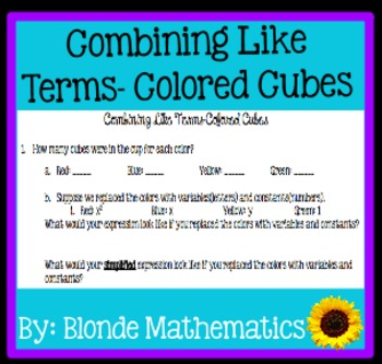 Combining Like Terms Using Colored Cubes