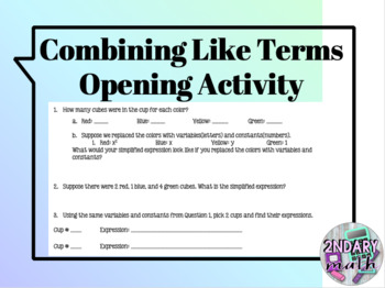 Combining Like Terms Using Colored Cubes (Opening Activity)