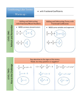 Combining Like Terms: Warm-up Progression from Adding Fractions