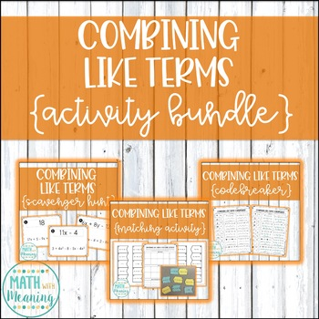 Combining Like Terms (With Integers) Activity Mini-Bundle