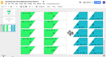 Combining Like Terms (With Integers) DIGITAL Matching Activity for Google Drive™