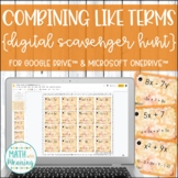 Combining Like Terms (With Integers) DIGITAL Scavenger Hunt Distance Learning