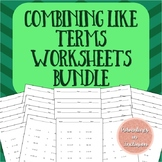 Combining Like Terms Worksheets - Levels A-D