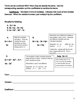 Combining Like Terms Worksheets and Quizzes