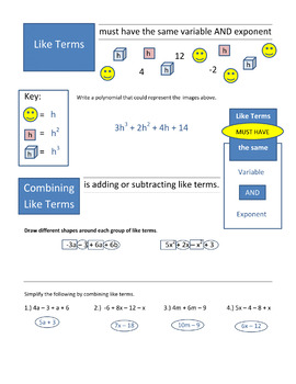 Combining Like Terms and Algebra Vocab