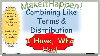 Combining Like Terms and Distribution