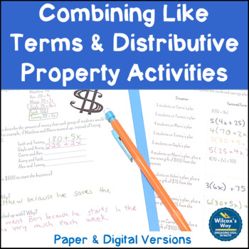 Combining Like Terms and Distributive Property Activities