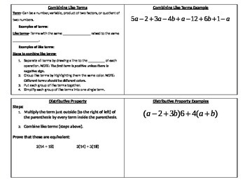 Combining Like Terms and Distributive Property Foldable