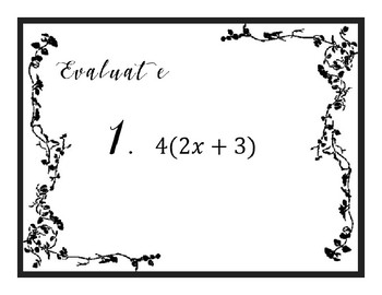 Combining Like Terms and Distributive Property for Equations Task Cards
