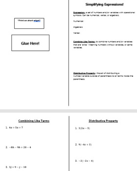Combining Like Terms and Distributive Property with Expressions